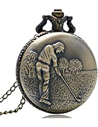 New Arrive Men Playing Golf Design Pocket & Fob Watches Vintage Retro Bronze Pocket Watch Men Watches With Necklace...