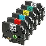 6er Schriftband für Brother P-Touch TZe-231/431/531/631/731/931, Kompatibel für P-Touch H105WB D400 H100LB D400VP uvm, Schwarz auf Weiß, Rot, Blau, Gelb, Grün, Silber, 12mm x 8m