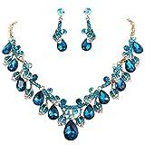 Clearine Damen Hochzeit Bridal Kristall Tropfen Cluster Blatt Vine Statement Halskette Dangle Ohrringe Türkis farbe Gold-Ton