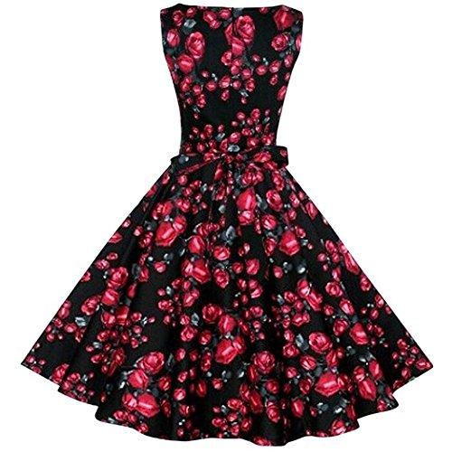 Eudolah Damen Abendkleid Cocktailkleid Party Kleid Business retro Sommerkleid Vintage Floral Rockabilly Schwarz
