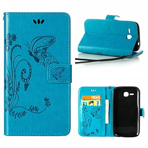 MOONCASE Huawei Y600 Hülle, Schmetterling Tasche Pu Leder Klappetui Bookstyle Schutzhülle für Huawei Ascend Y600 Handyhülle Magnetisch [Card Slot] TPU Case mit Standfunktion & Wrist Strap Blau