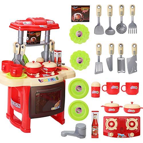 TONGSHAO Kit Utensili Cucina/ 1381/5000 Simulazione Cucina Utensili da Cucina Giocattoli educativi per Bambini. Set Giocattolo da Cucina elettronico per Bambini (Hong)