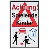 Hinweisschild 'Achtung! Spielende Kinder' - 250x400mm
