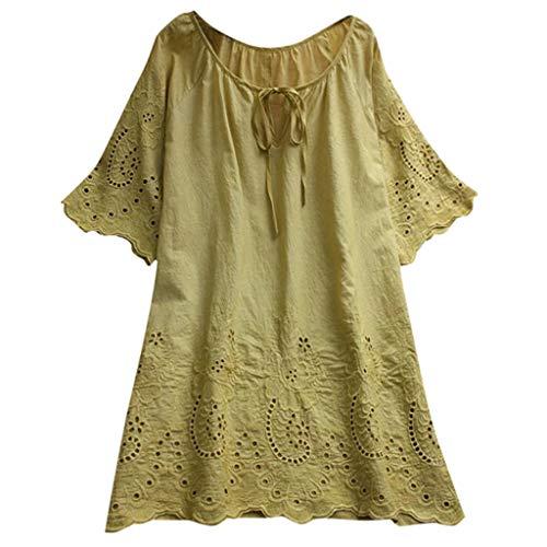 Zegeey Damen Kurzarm Oberteil T-Shirt Rundhals Ausschnitt Baumwolle Und Leinen Cat Drucken Asymmetrischer Saum Lose LäSsige Bluse Hemd Shirt Blusen Locker Basic Tops(A1-Gelb,XL)
