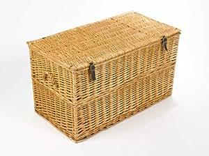 Boîte pour les couvertures, large 90cm, couleur de miel, coffre de rangement / boîte pour les couvertures