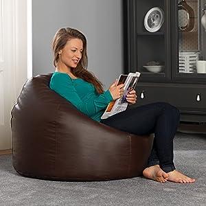 51o7ouhhOEL. SS300  - Bean Bag Bazaar Classic Faux Leather Bean Bag Chair, 85cm x 50cm, Large, Living Room Bean Bags for Adults
