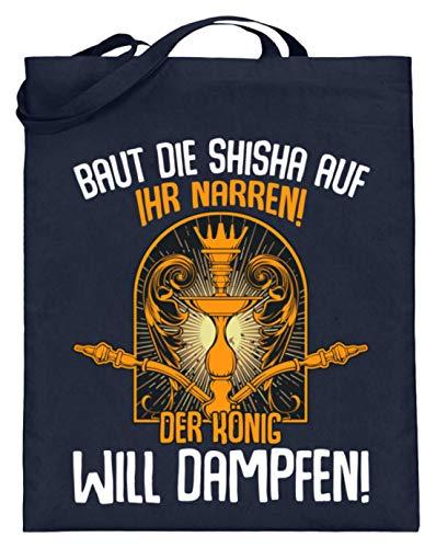Kleidungskulisse Baut Die Shisha Auf Ihr Narren Der König Will Dampfen Ideales Geschenk für Shisha Raucher - Jutebeutel (mit langen Henkeln) -38cm-42cm-Deep Blue