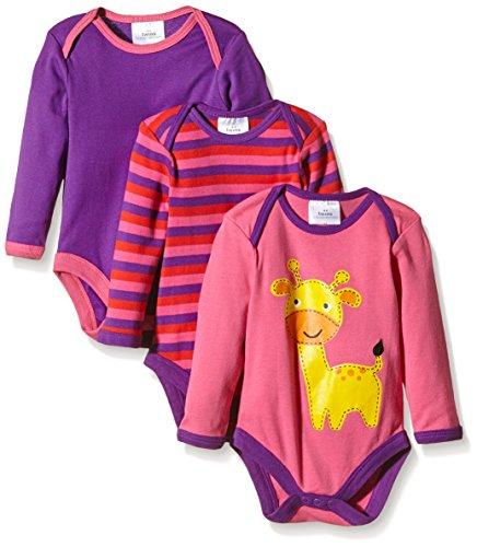 Twins Baby - Mädchen Langarm-Body im 3er Pack, Gr. 68, Mehrfarbig (pink/lila 3202)