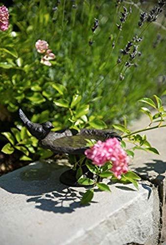 AmaCasa Vogeltränke Vogelbad Vogelbecken Wassertränke Tränke Wasserschale auf Fuß Braun Gusseisen