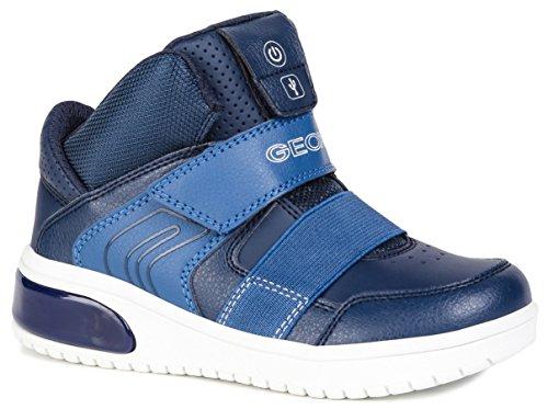 Geox XLED J847QA Jungen High-Top Sneaker,Kinder Stiefel,Sportschuh,Klettschuh,Sneaker-Stiefel,mid Cut, Doppelklett-Verschluss,Blinklicht,LED,Licht,BLAU,EU 36