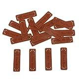 IPOTCH 20x Handmade Labels Etiketten Tags 50x15mm PU Leder Annäher Labels Hand Nähen Knopf DIY Basteln für Kleidung Tasche Näharbeit Deko - 3