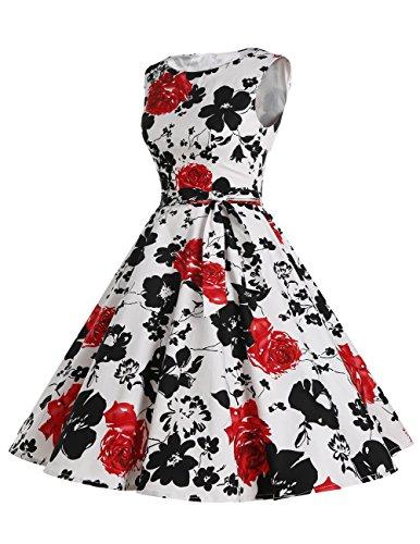 Dresstells Vintage 1950's Audrey Hepburn robe de soirée cocktail, bal style années 50, Rockabilly, Swing Fleur Noir et Bleu