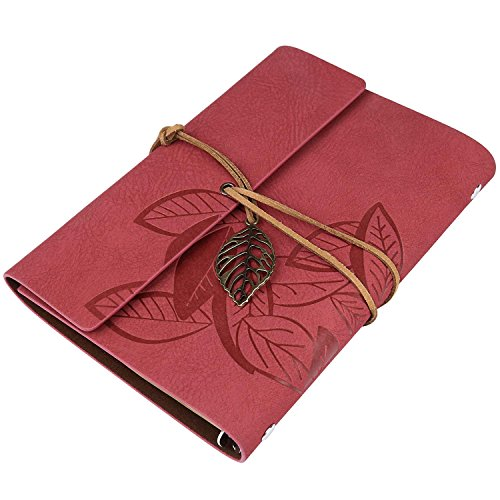 51o7rCZC7sL - BEST BUY #1 Vintage PU Leather Cover Loose Leaf Blank Notebook Diary Leaf Design Stationery Reviews and price compare uk