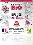 Capsule d'infusion BIO - Infusion Fruits Rouges BIO -10 capsules compatibles Nespresso, Capsule biodégradable, compostable- Fabriqué en France