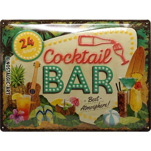 Nostalgic-Art 23264 - Cocktail Bar , Retro Blechschild , Vintage-Schild , Wand-Dekoration , Metall , 30x40 cm -