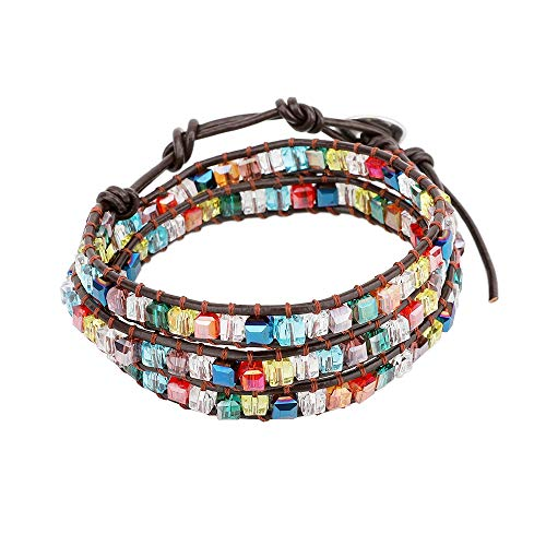 Emibele Leather Bracelet, Dazzling Handmade Wrap Bracelet Shimmering Crystal Glass Woven Jewelry Wrist Accessory for Women Girls Lasies - Colorful