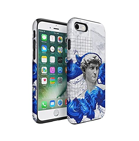 Antique Roman Marble Sculpture With Blue Paint Dashes Apple iPhone 7 Silicone Inner & Outer Hard PC Shell 2 Piece Hybrid Armor Case Cover