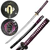 Jaschigo Samurai-Schwert handgeschmiedet - Carbonstahl - schwarz lackiert + flieder - gesamt 104 cm - edel