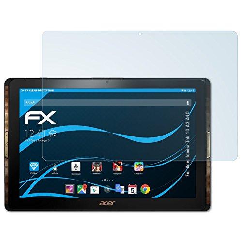 Acer Iconia Tab 10 (A3-A40) Schutzfolie - 2 x atFoliX FX-Clear kristallklare Folie Displayschutzfolie