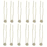 #7: One Point Collections 20 pcs Beautiful Crystal Gold Rhinestone Flower Hair Jewelry Bridal Hair Pin Hairpins