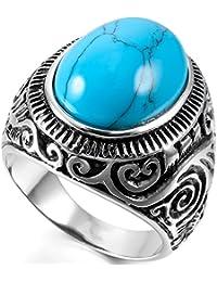 MunkiMix Acero Inoxidable Anillo Ring Turquesa Turquoise El Tono De Plata Azul Hombre