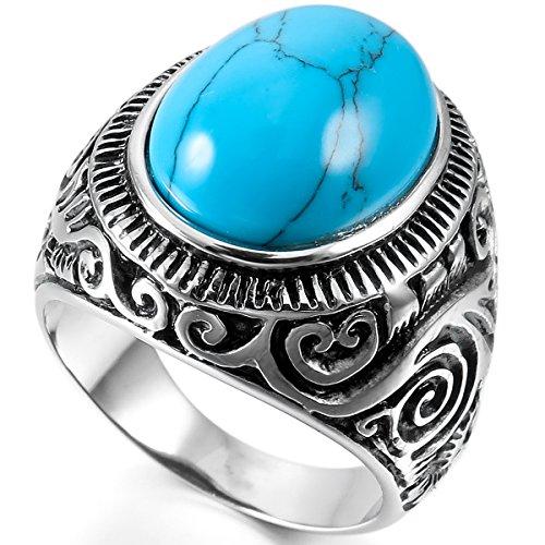 MunkiMix Acero Inoxidable Anillo Ring Turquesa Turquoise Plata Azul Biker Vendimia Vintage Retro Talla Tamaño 20 Hombre