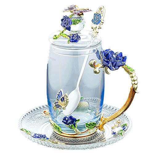 Iamagie Teetassen Kaffeetassen Becher, Handwerk 3D Vintage Flower Cup mit Deckel Coaster und Teelöffel, einzigartige Schmetterling und Blue Rose Emaille Design, Dekoration (350 ml, 11,84 oz)