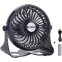 Mini Ventilatore da tavolo Batteria USB Fan Ventola Ricaricabile 360° Regolabile Silenziosità Stepless (Nero)