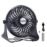 Mini Ventilatoren USB Tischventilator Batterie Fan mit Einstellbarer Geschwindigkeit(Schwarz)