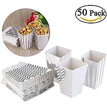 NUOLUX Cajas de palomitas de maíz 50 piezas miniatura de trío amarillo diseño festoneado borde partido cartón dulces envase tratar cartones (plata)