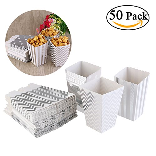 NUOLUX Popcorn Boxen, Party Candy Container behandeln Kartons, Silber (Kino-stil Popcorn Wanne)
