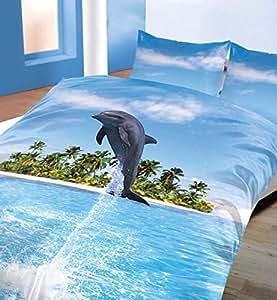 Housse de couette Parure de lit, dauphin, 3d Motif, durable, Polyester, coton, Housse de couette double Ensemble de