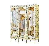 YOTA HOME Garderobe Kombi-Doppel-Kleiderschrank Oxford-Tuch Kleiderschrank Großer Kapuzen-Mantel-Rack Einfacher Kleiderschrank/Schuhschrank (126 * 45 * 173cm) Kleiderablage