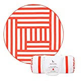 Round Beach Towel (Coral Red – Maze Design – 190cm) – beach mat, great for picnics, includes carry bag