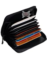 Double Concertina Black Leather Credit Card Holder with Purse Section and ID Window