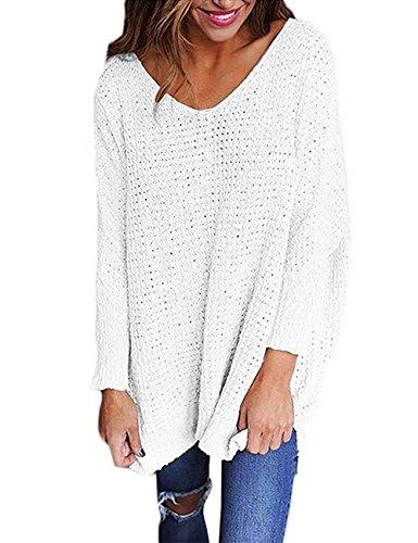 dd353ddf52fe8e Exlura Frauen Oversized Gestrickte Pullover Langarm V-Ausschnitt Lose Top  Pullover Pullover
