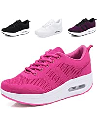size 40 e1bd8 c4bbc Hishoes Womens Air Sports Running Shoes Shock Wedge Lightweigh Platform  Walking Shoes Breathable Trainers Fitness Sneakers