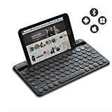 Jelly Comb Kabellose Tastatur, Bluetooth Funktastatur mit Dual-Kanal für Android/Windows Tablet, iOS iPad, Smartphone, Handy, Mac OS, QWERTZ Deutsches Layout, Schwarz