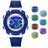Reloj Digital para Niños Niñas, Reloj Infantil Deportivo 7 Colores Luz LED Multifuncional Impermeable 30 M Relojes de Pulsera para Exteriores con Alarma para Niños de 4 a 15 años. (Azul Oscuro)
