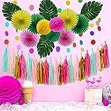 JoyTplay Summer Party Decoration Décorations de Fête d'été Ananas Jaune Tassel Guirlande Flamingo Deco Pompon Tropicale Artificielle pour Anniversaire Mariage Party