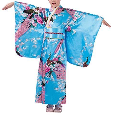 KRUIHAN Kinder Yukata Jahrgang Japanischer Stil - Mädchen Kimono Traditionell Kleidung Seide Stoff Robe Hochzeitskleidung Party Performance Kleid Blue 150CM