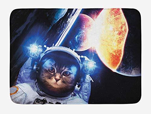 TKMSH Space Cat Bath Mat, Kitten with Space Suit Planets Nebula Supernova Eclipse Artwork, Plush Bathroom Decor Mat with Non Slip Backing, White Orange and Dark Blue,15.7X23.6 inch/40 * 60cm