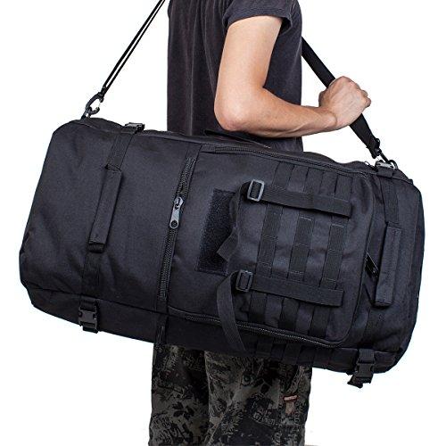 60L Multifunktionswasserdicht Militärische Taktische Molle Angriffs Rucksack Sport Rucksack Reisetasche Taschen Wochenend-Reisetasche Duffle Handgepäck A-Schwarz
