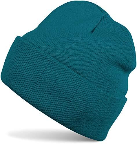 styleBREAKER Unisex warme Beanie Strickmütze, Feinstrick Mütze doppelt gestrickt, Winter 04024029, Farbe:Petrol - Mütze Aus Gestrickte Baumwolle