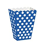 Royal Blue Polka Dot Popcorn Treat Boxes, Pack of 8