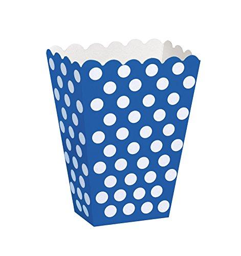 Unique Party 59294 Scatole Popcorn Sorpresa a Pois Blu Reale, Confezione da 8