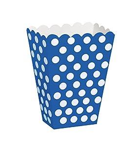 Unique Party- Paquete de 8 cajas para palomitas a lunares, Color azul rey, 59294)