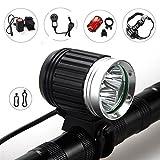 Amadoierly T6 Fahrrad Licht L2 3600Lm Super Helle Mountainbike Scheinwerfer Rücklicht Set Nacht Reiten Fahrrad Scheinwerfer, T6 Schwarz Silber