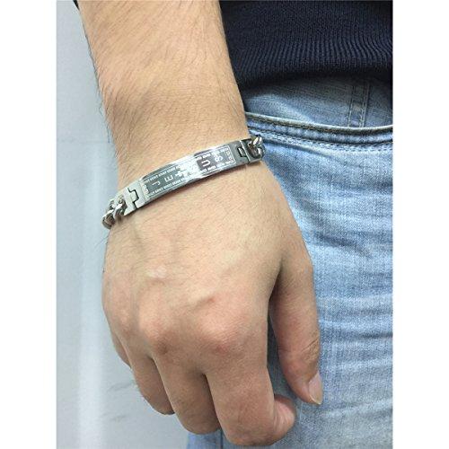Mens Cross Jesus Bracelet Stainless Steel Silver English Bible Lords