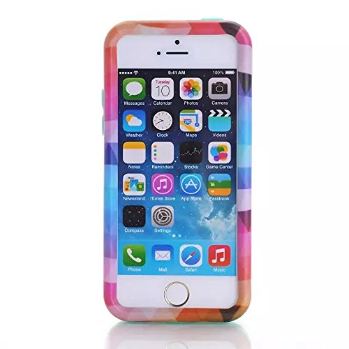 [iPhone 5C-Telefon-Kasten] Lantier Rhombus 3in1 Heavy Duty Gemälde Entwurf Slim Fit Hybrid TUFF Folgenshockproof-Fall-harter Silikon-Gel Cover für iPhone Tribal 5C mit Schirm-Schutz-und-Stift-Pink Rhombus Pink